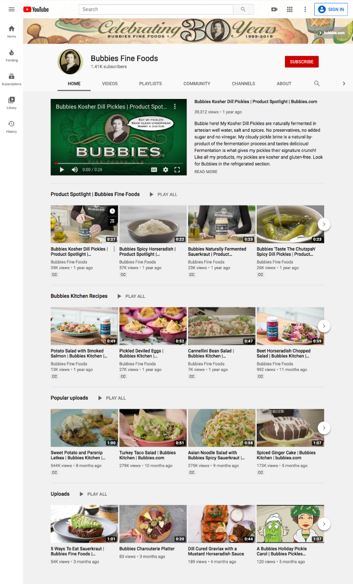 Bubbies Youtube Page