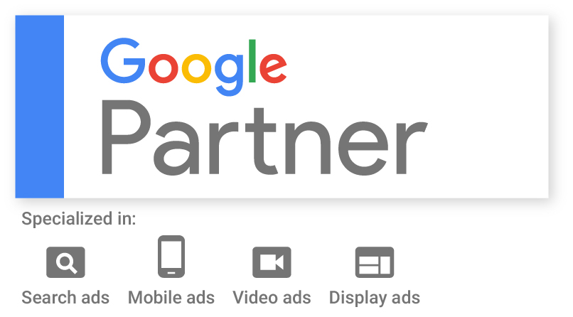 Google Partner Certified in Search, Mobile, Video ans Display Ads